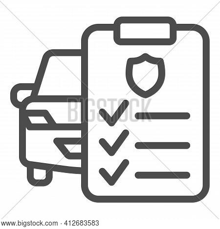 Car And Application Form Line Icon, Car Parts Concept, Auto Insurance Form Sign On White Background,