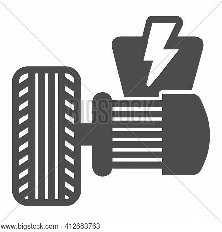 Electric Vehicle Motor And Tire Solid Icon, Electric Car Concept, Electrical Engine Sign On White Ba