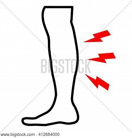 Shin Hurts Icon On White Background. Flat Style. Body Pain Symbol. Shin Pain Sign.