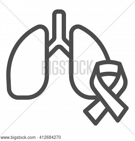 Lung Organ And Tape Line Icon, World Cancer Day Concept, Human Lungs And Cancer Ribbon Sign On White