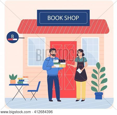 Man Buys Books From Woman Near Small Bookstore. Businesswoman Sells Books To Readers In Shop