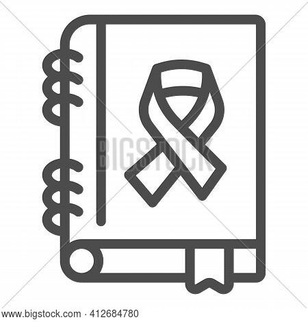 Cancer Treatment Book Line Icon, World Cancer Day Concept, Disease Treatment Brochure Sign On White