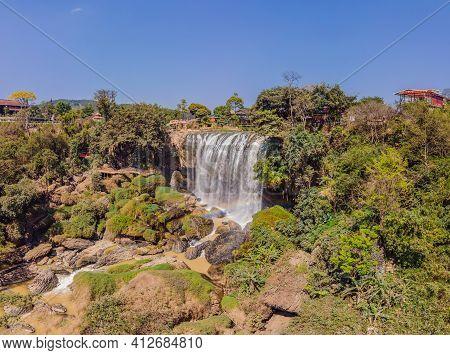 Panoramic Shot Of Elephant Waterfall Near Dalat City In Vietnam