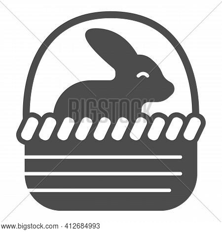 Basket With Easter Bunny Solid Icon, Happy Easter Concept, Bunny Sitting In Basket Sign On White Bac
