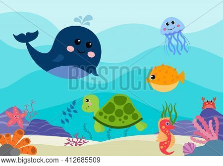 Underwater Scenery And Cute Animal Life In The Sea With Seahorses, Starfish, Octopus, Turtles, Shark