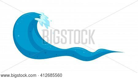 Tropical Typhoon Wave With High Curl. Earthquake Wave Swirling In The Sea. Cartoon Vector Illustrati