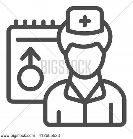 Male Doctor And Schedule Line Icon, World Cancer Day Concept, Doctor Appointment Sign On White Backg