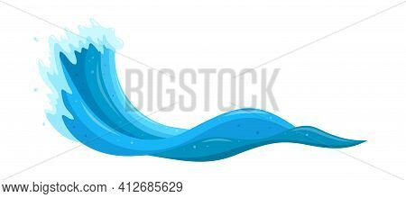 Tsunami Wave In The Sea. Flood Wave Crest With Froth. Cartoon Vector Illustration Isolated In White