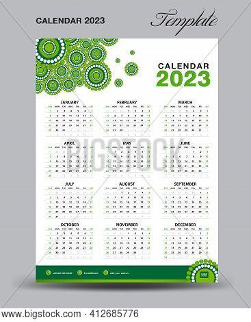 Wall Desk Calendar 2023 Template, Desk Calendar 2023 Design, Week Start Sunday, Business Flyer, Set