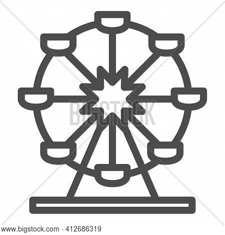 Attraction Ferris Wheel Line Icon, The Rides Concept, Entertainment Round Attraction Sign On White B