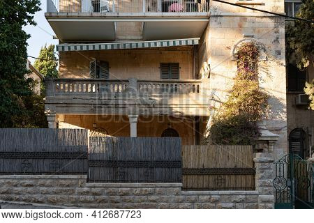 Jerusalem, Israel, February 27, 2021 : Evening View Of A Quiet Residential Hovevei Tsiyon Street In