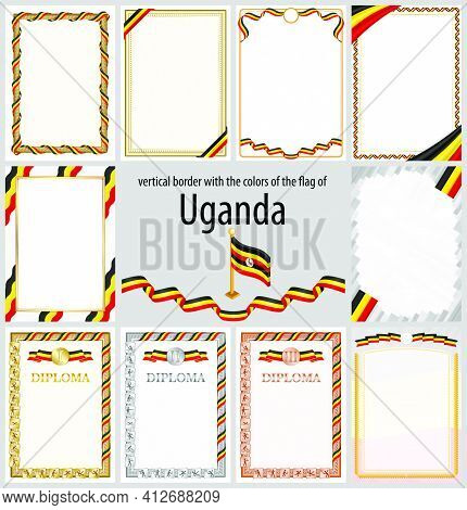 Set Of Vertical Frames And Borders In The Colors Of The Flag Of Uganda, Template Elements For Your C