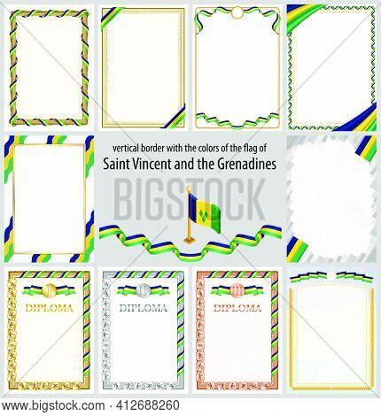 Set Of Vertical Frames And Borders In The Colors Of The Flag Of Saint Vincent And The Grenadines, Te