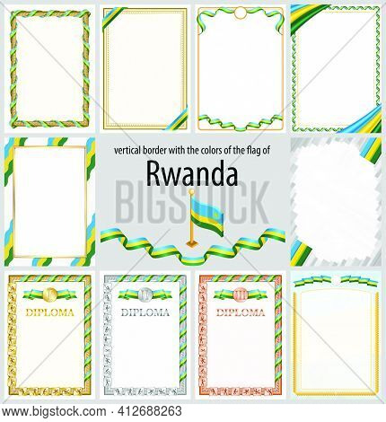 Set Of Vertical Frames And Borders In The Colors Of The Flag Of Rwanda, Template Elements For Your C