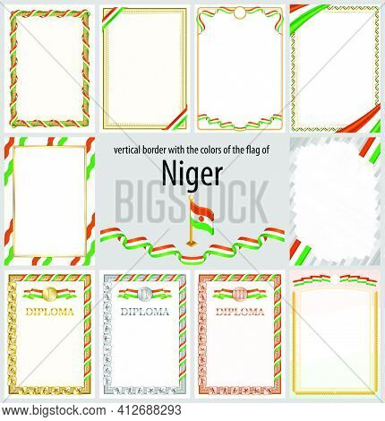 Set Of Vertical Frames And Borders In The Colors Of The Flag Of Niger, Template Elements For Your Ce