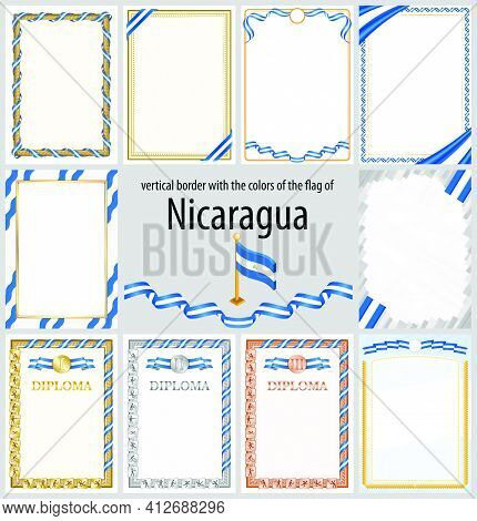 Set Of Vertical Frames And Borders In The Colors Of The Flag Of Nicaragua, Template Elements For You