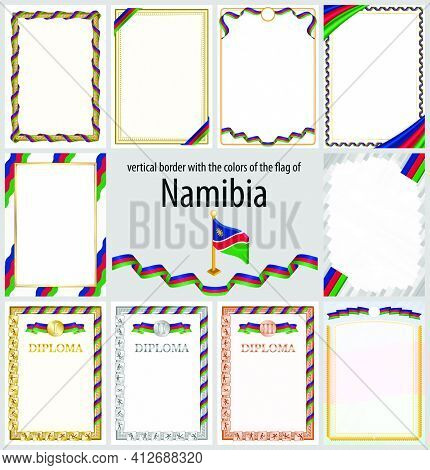 Set Of Vertical Frames And Borders In The Colors Of The Flag Of Namibia, Template Elements For Your