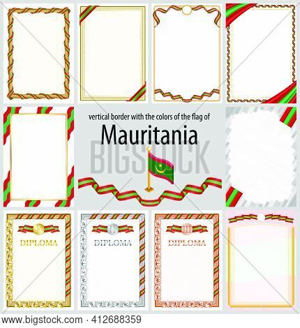 Set Of Vertical Frames And Borders In The Colors Of The Flag Of Mauritania, Template Elements For Yo