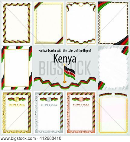 Set Of Vertical Frames And Borders In The Colors Of The Flag Of Kenya, Template Elements For Your Ce