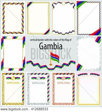 Set Of Vertical Frames And Borders In The Colors Of The Flag Of Gambia, Template Elements For Your C