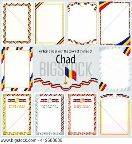 Set Of Vertical Frames And Borders In The Colors Of The Flag Of Chad, Template Elements For Your Cer