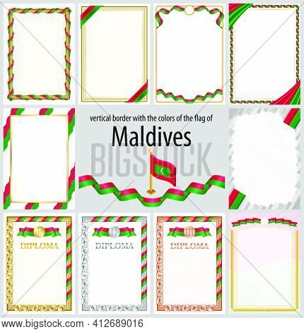 Set Of Vertical Frames And Borders In The Colors Of The Flag Of Maldives, Template Elements For Your