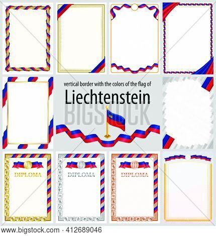 Set Of Vertical Frames And Borders In The Colors Of The Flag Of Liechtenstein, Template Elements For