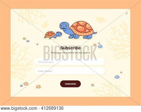Email Subscription Design With Cute Little Turtle With Mom. Online Newsletter Template With Subscrib