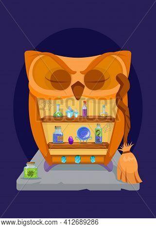 Creepy Owl Shaped Cupboard With Potion Bottles, Gemstones, Broom. Spooky Furniture Decor Design. Fla