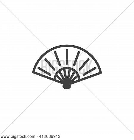 Japanese Fan Line Icon. Linear Style Sign For Mobile Concept And Web Design. Folding Fan Outline Vec