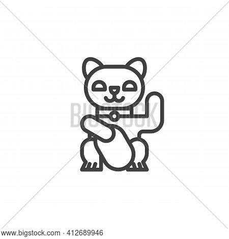 Japan Lucky Cat Line Icon. Linear Style Sign For Mobile Concept And Web Design. Maneki Neko Cat Outl