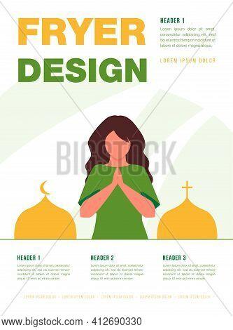 Woman Praying Between Orthodox Church And Mosque. Prayer, Cross, Crescent. Flat Vector Illustration.
