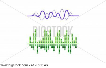 Acoustic Waves As Audible Sound With Compression And Decompression Vector Set