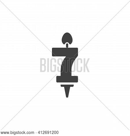 Number 7 Candle Vector Icon. Filled Flat Sign For Mobile Concept And Web Design. Seven Years Birthda