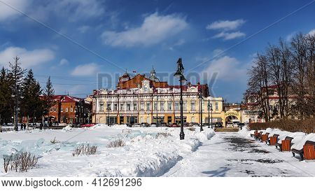 Tomsk, Russia - March 12, 2021. The Ensemble Of The City Estate Of I.i.gadalov. Year Of Creation 189