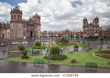 Catedral and Iglesia de la Compania fountain, Plaza de Armas, Cuzco, Peru