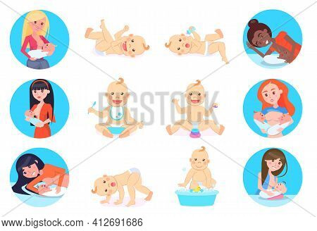 Woman Breastfeeding Her Newborn Baby In Various Positions. Nursing Mothers Information Poster