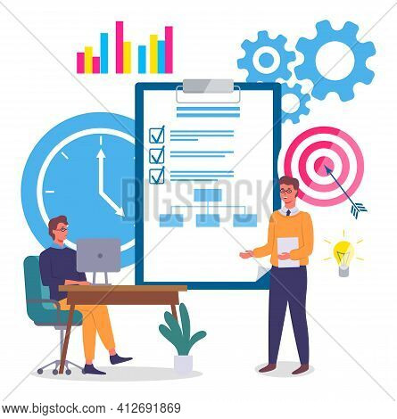 Implementing Business Solutions, Clipboard With Completed Assignments, Businessmen Communicating