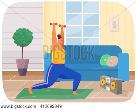Fat Woman Training With Dumbbells At Home. Obese, Fat, Chubby Woman Doing Weightlifting Exercises