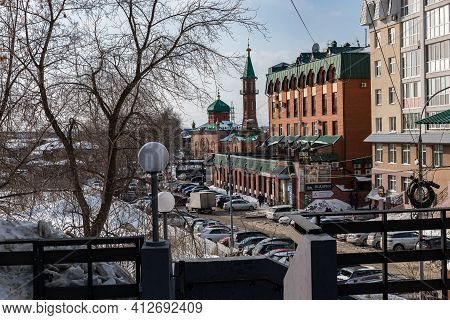 Tomsk, Russia - March 12, 2021. Red Cathedral Mosque On Trifonova Street In The Old District Of Toms