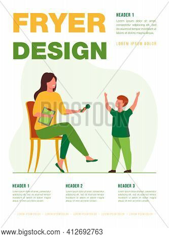Talent Show Host Giving Microphone To Singing Boy. Vocal Teacher, Music Lesson, Concert. Flat Vector