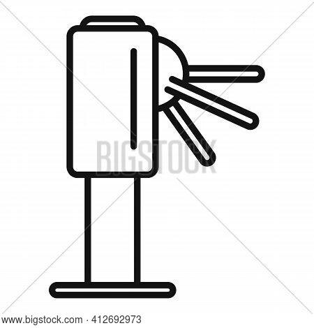 Metro Turnstile Icon. Outline Metro Turnstile Vector Icon For Web Design Isolated On White Backgroun