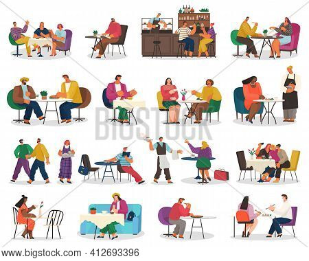 People Eating Scenes Set. Friends Or Business Partners Are Sitting In Cafe Or Restaurant At A Table