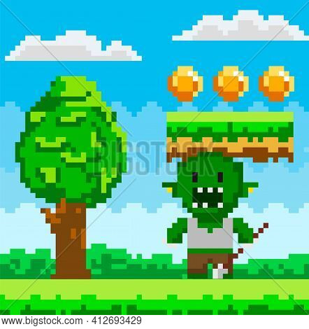 Vector Pixel Geek Character. Pixelated Green Monster In Natural Landscape With Tall Tree And Coins