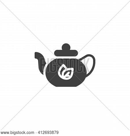Teapot Tea Vector Icon. Filled Flat Sign For Mobile Concept And Web Design. Herbal Tea Pot Glyph Ico