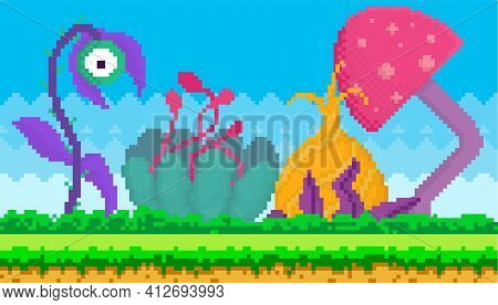 Pixel-game Interface Abstract Layout Design. Fantasy Glade With Pixel Alien Plants On Green Grass