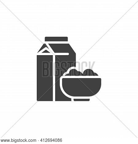 Cereal Milk Breakfast Vector Icon. Filled Flat Sign For Mobile Concept And Web Design. Milk Pack And