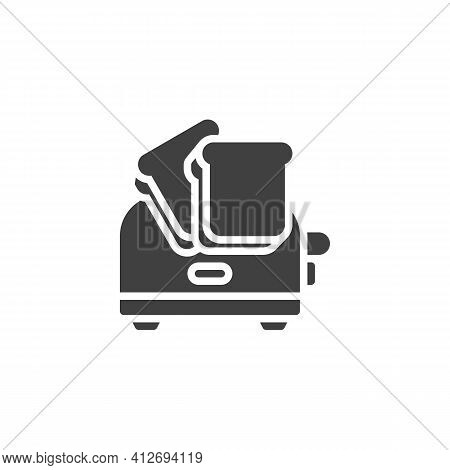 Toaster And Toasts Vector Icon. Filled Flat Sign For Mobile Concept And Web Design. Toaster With Bre