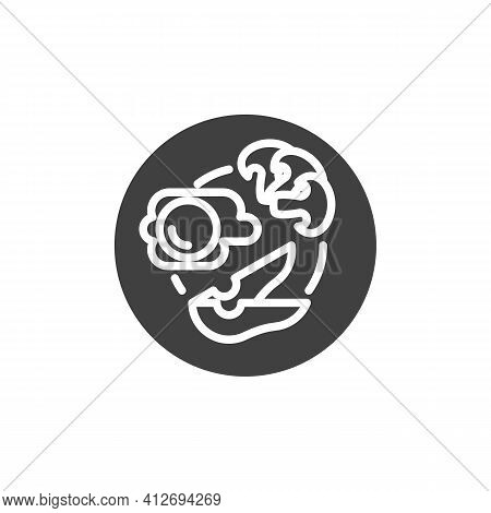 Healthy Breakfast Plate Vector Icon. Filled Flat Sign For Mobile Concept And Web Design. Breakfast W