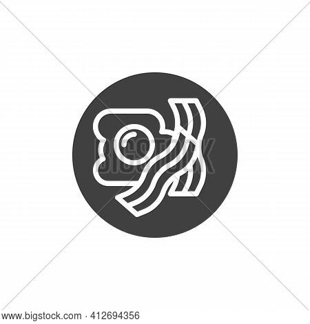 Breakfast With Fried Egg And Bacon Vector Icon. Filled Flat Sign For Mobile Concept And Web Design.